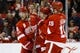 Feb 3, 2017; Detroit, MI, USA; Detroit Red Wings center Luke Glendening (center) receives congratulations from teammates after scoring a goal in the first period against the New York Islanders at Joe Louis Arena. Mandatory Credit: Rick Osentoski-USA TODAY Sports