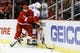 Feb 3, 2017; Detroit, MI, USA; Detroit Red Wings defenseman Nick Jensen (3) checks New York Islanders left wing Andrew Ladd (16) during the second period at Joe Louis Arena. Mandatory Credit: Rick Osentoski-USA TODAY Sports