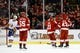 Feb 3, 2017; Detroit, MI, USA; Detroit Red Wings center Darren Helm (43) receives congratulations from teammates after scoring in the second period against the New York Islanders at Joe Louis Arena. Mandatory Credit: Rick Osentoski-USA TODAY Sports