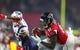 Feb 5, 2017; Houston, TX, USA; Atlanta Falcons wide receiver Julio Jones (11) catches a pass against New England Patriots cornerback Eric Rowe (25) in the fourth quarter during Super Bowl LI at NRG Stadium. Mandatory Credit: Mark J. Rebilas-USA TODAY Sports
