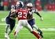 Feb 5, 2017; Houston, TX, USA; New England Patriots running back James White (28) runs the ball against the Atlanta Falcons in overtime during Super Bowl LI at NRG Stadium. Mandatory Credit: Mark J. Rebilas-USA TODAY Sports