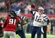 Feb 5, 2017; Houston, TX, USA; New England Patriots quarterback Tom Brady (12) throws a pass against the Atlanta Falcons in overtime during Super Bowl LI at NRG Stadium. Mandatory Credit: Mark J. Rebilas-USA TODAY Sports