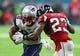 Feb 5, 2017; Houston, TX, USA; New England Patriots running back James White (28) runs the ball against Atlanta Falcons cornerback Robert Alford (23) in overtime during Super Bowl LI at NRG Stadium. Mandatory Credit: Mark J. Rebilas-USA TODAY Sports