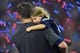 Feb 5, 2017; Houston, TX, USA; New England Patriots quarterback Tom Brady (12) and his daughter Vivian Brady hug after the game against the Atlanta Falcons during Super Bowl LI at NRG Stadium.  The Patriots won 34-28.  Mandatory Credit: Bob Donnan-USA TODAY Sports