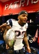 Feb 5, 2017; Houston, TX, USA; New England Patriots strong safety Patrick Chung (23) with the Vince Lombardi Trophy in the locker room after defeating the Atlanta Falcons during Super Bowl LI at NRG Stadium. Mandatory Credit: Mark J. Rebilas-USA TODAY Sports