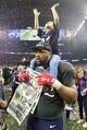 Feb 5, 2017; Houston, TX, USA; New England Patriots defensive end Alan Branch (97) celebrates with his daughter after winning Super Bowl LI at NRG Stadium. Mandatory Credit: Matthew Emmons-USA TODAY Sports