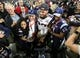 Feb 5, 2017; Houston, TX, USA; New England safety Patrick Chung (23) celebrates with the Vince Lombardi Trophy and his family after beating the Atlanta Falcons during Super Bowl LI at NRG Stadium. Mandatory Credit: Matthew Emmons-USA TODAY Sports