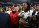 Feb 5, 2017; Houston, TX, USA; New England Patriots middle linebacker Dont'a Hightower (54) and defensive coordinator Matt Patricia celebrate with the Vince Lombardi Trophy during Super Bowl LI at NRG Stadium. Mandatory Credit: Matthew Emmons-USA TODAY Sports
