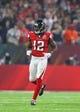 Feb 5, 2017; Houston, TX, USA; Atlanta Falcons wide receiver Mohamed Sanu (12) against the New England Patriots during Super Bowl LI at NRG Stadium. Mandatory Credit: Mark J. Rebilas-USA TODAY Sports