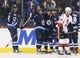 Apr 1, 2017; Winnipeg, Manitoba, CAN;  Winnipeg Jets center Mathieu Perreault (85) celebrates his goal with teammates during the third period against the Ottawa Senators at MTS Centre. Winnipeg won 4-2. Mandatory Credit: Bruce Fedyck-USA TODAY Sports