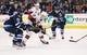 Apr 1, 2017; Winnipeg, Manitoba, CAN;  Ottawa Senators center Ryan Dzingel (18) is checked by Winnipeg Jets defenseman Josh Morrissey (44) during the third period at MTS Centre. Winnipeg won 4-2. Mandatory Credit: Bruce Fedyck-USA TODAY Sports