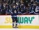 Apr 1, 2017; Winnipeg, Manitoba, CAN;  Winnipeg Jets left wing Nikolaj Ehlers (27) celebrates his goal with teammates during the third period against the Ottawa Senators at MTS Centre. Winnipeg won 4-2. Mandatory Credit: Bruce Fedyck-USA TODAY Sports